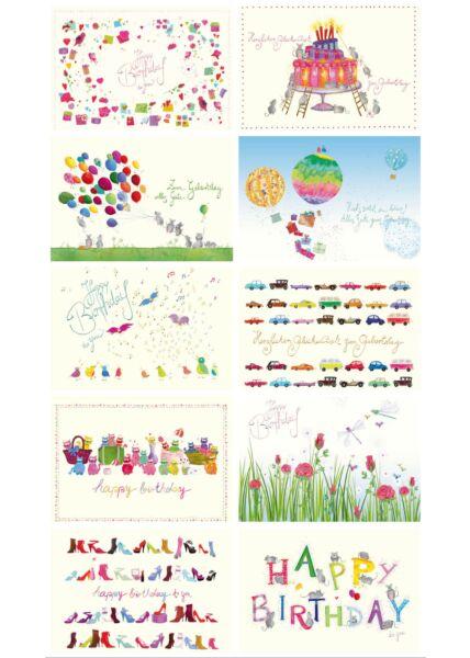 Postkarten Set Geburtstag Naturpapier Premiumqualität