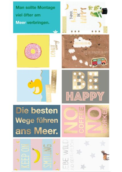 10er Postkarten Set Sprüche Cityproducts hochwertig