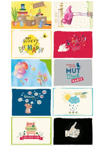 10er Postkarten Set Motivation Sprüche Gutsch