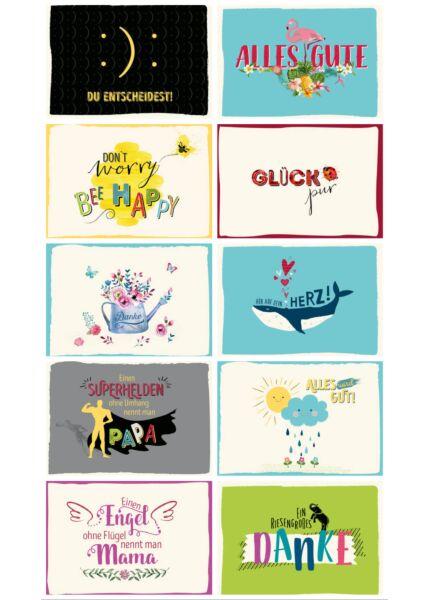 10er Postkarten Set Sprüche Wünsche allgemein Gutsch