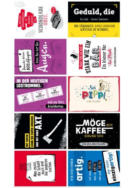 10er Postkarten Set Sprüche lustig humorvoll Gutsch