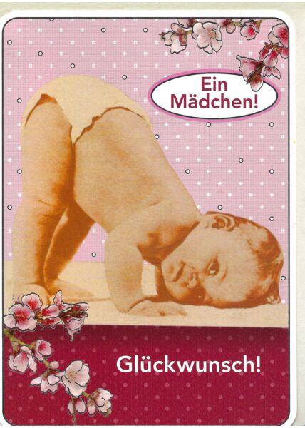 Hochwertige Maxi Glückwunschkarte Geburt: Ein Mädchen