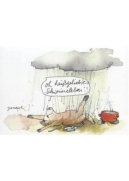 Schöne Postkarte Janosch: oh heißgeliebtes Schweineleben