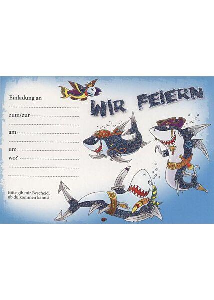 Schöne Postkarte Kindergeburtstag Einladung: Wir feiern