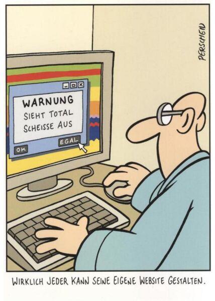 Lustige Postkarte Sprüche: Wirklich jeder kann seine eigene Website gestalten