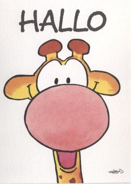 Jan Vis Cartoon Postkarte: Hallo, Giraffenkopf