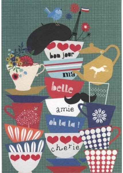 Postkarte Sprüche: Bonjour (Strukturkarton)