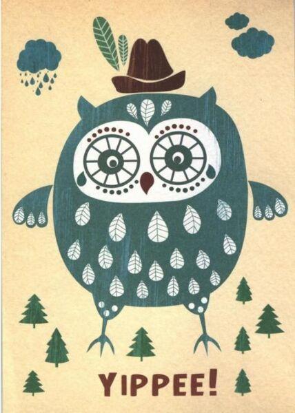 Postkarte Sprüche: Yippee! (Strukturkarton)