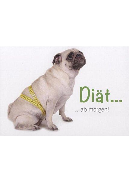 """Postkarte Frauen lustig Hund Mops: """"Diät ab morgen!"""""""