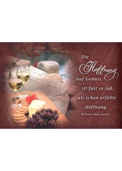 """Foto Postkarte Spruch: """"Die Hoffnung auf Genuss ist fast so süß, als schon erfüllte Hoffnung"""""""