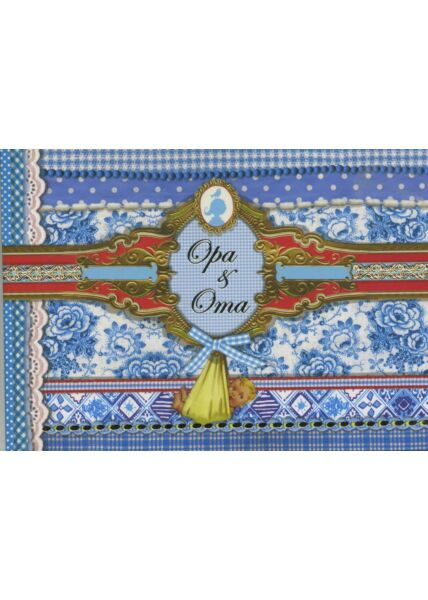 Gezeichnete Doppelkarte: Opa und Oma