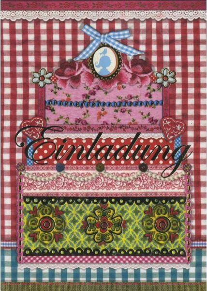 Gezeichnete Doppelkarte: Einladung