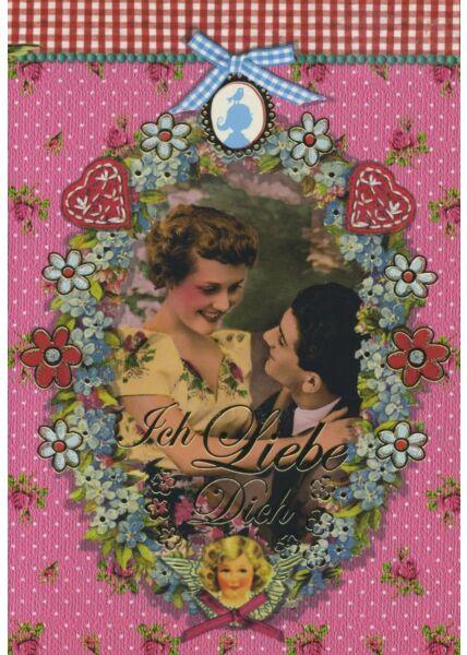 Gezeichnete Doppelkarte: Ich Liebe Dich