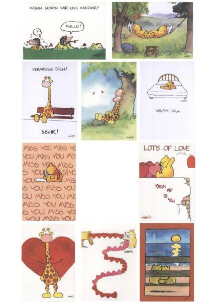 10er Postkartenset Jan Vis Cartoon Postkarte Liebe + 10 Kuverts