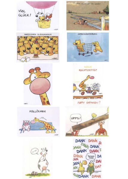 10er Postkartenset Jan Vis Cartoon Postkarte Mix + 10 Kuverts
