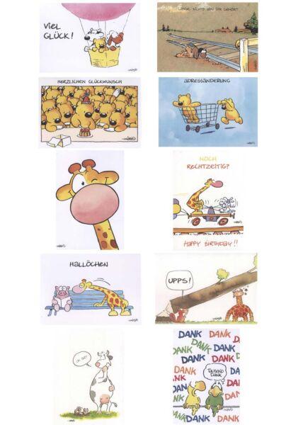 10er Postkartenset Jan Vis Cartoon Postkarte Mix