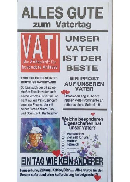 """Vatertagskarte: """"Vati die Zeitschrift für besondere Anlässe"""""""