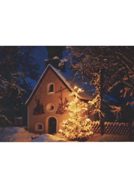Weihnachtspostkarte blanko: Kirche im Schnee