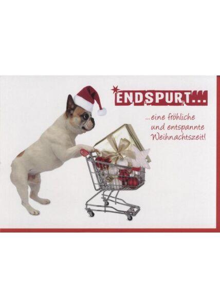 Weihnachtskarte Hunde -Tiermotiv: Endspurt... eine fröhliche und entspannte Weihnachtszeit!