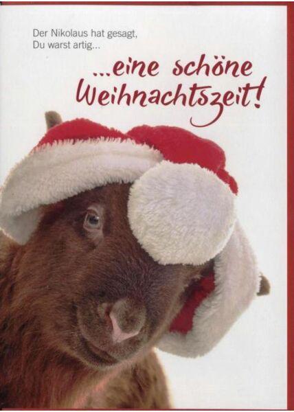 Weihnachtskarte Lamm-Tiermotiv: Der Nikolaus hat gesagt, Du warst artig