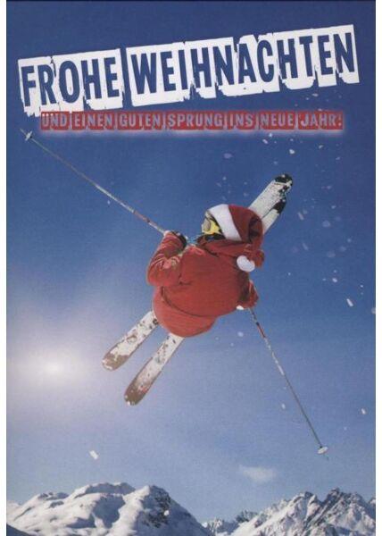 """Weihnachtspostkarte Skifahrer: """"Frohe Weihnachten und einen guten Sprung ins neue Jahr"""""""